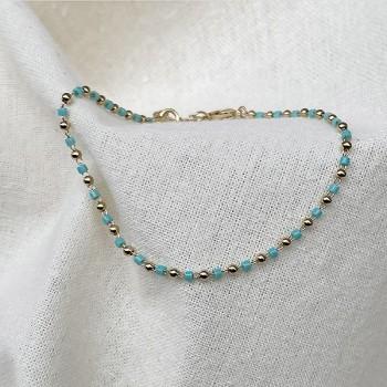 Bracelet sur chaine plaqué or et perles bleu turquoise - Bijoux fins et fantaisies