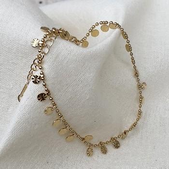 Bracelet le sun plaqué or sur chaine boules et minis médailles - bijoux modernes - gag and lou - bijoux fantaisies
