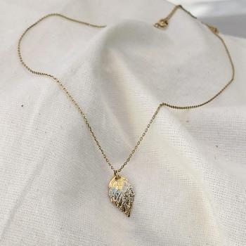 Collier médaille feuille d'automne sur chaine en plaqué or - Bijoux fins fantaisies