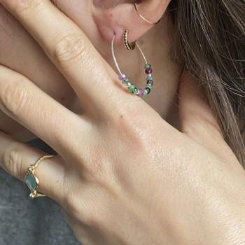 Boucles d'oreilles créoles 30 mm en argent avec pierre fine en rubis soizite vert/rose indien - Bijoux fins et modernes