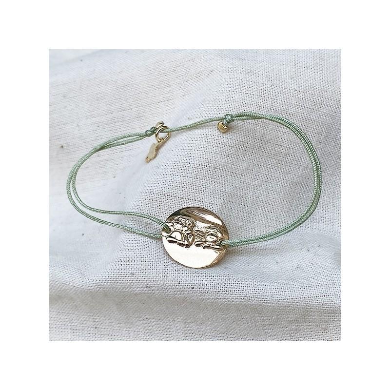 Bracelet lien ajustable couleur céladon médaille ange plaqué or - Bijoux fantaisie