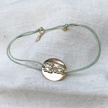 Bracelet lien ajustable couleur céladon médaille ange plaqué or - Bijoux fins et fantaisies