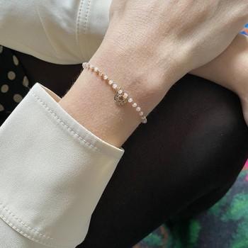 Bracelet Chapelet sur chaine perlée et médaille taupe plaqué or - Bijoux fins et fantaisies