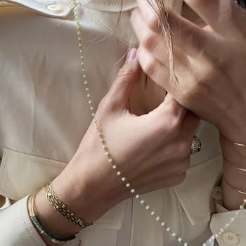 Sautoir Chapelet sur chaine perlée Celadon avec médaille assortie - Bijoux fins et fantaisies