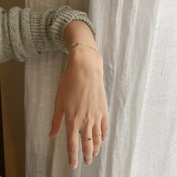 Bracelet chaine plaqué or pierre calcedoine médaille pièce de monnaie - Bijoux fins et tendances