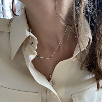 Collier en argent 5 pierres fines irrégulières en rhodochrosite - Bijoux fins et tendances