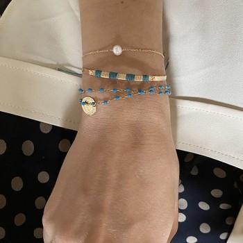 Bracelet sur chaine en plaqué or pierre ronde perle d'eau douce - Bijoux fins et intemporels