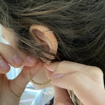 Créoles 30 mm en plaqué or avec perles à écraser - Bijoux fantaisie