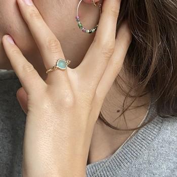 Bague sur fil plaqué or et médailles sertie pierre bleue turquoise - bijoux de créateur