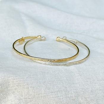 Joncs martelés deux boules extrémités ajustables en argent ou plaqué or - Bijoux fins et intemporels