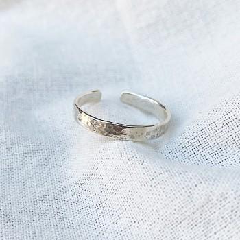 Bague anneau simple martelé en argent ajustable - bijoux fins et intemporels