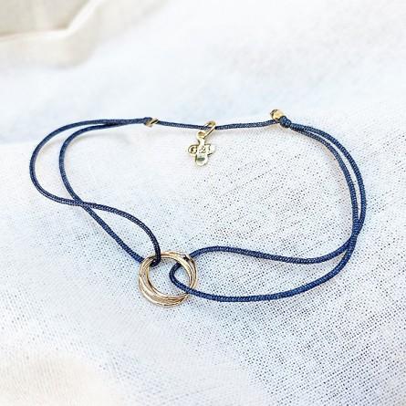 Bracelet en plaqué or 3 anneaux entrelacés sur lien soyeux gris taille ajustable - Bijoux délicat