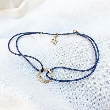 Bracelet en plaqué or 3 anneaux entrelacés sur lien soyeux coloré taille ajustable - Bijoux fins et fantaisies