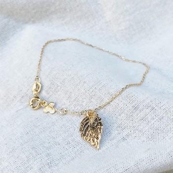 Bracelet sur chaine plaqué or médaille feuille d'automne - bijoux fins et modernes