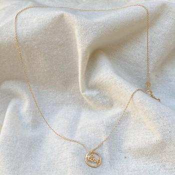 Collier médaille Love dans l'anneau en plaqué or - Bijoux fins et fantaisies