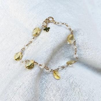 Bracelet plaqué or sur chaine de pierres fines en Citrine - Bijoux moderne