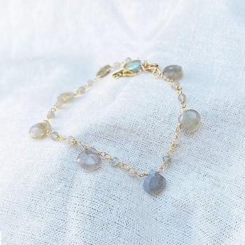 Bracelet plaqué or sur chaine de pierres fines en labradorite - Bijoux originaux tendances