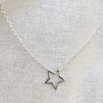 Collier étoile évidée sur chaine en argent - bijoux fantaisie