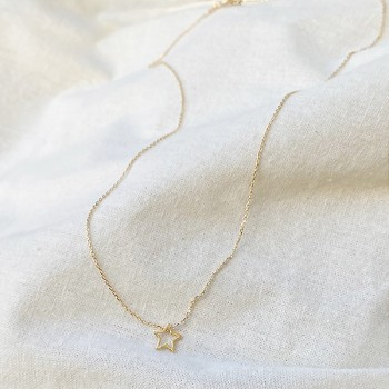 Collier étoile évidée sur chaine en plaqué or - bijoux fins et fantaisies