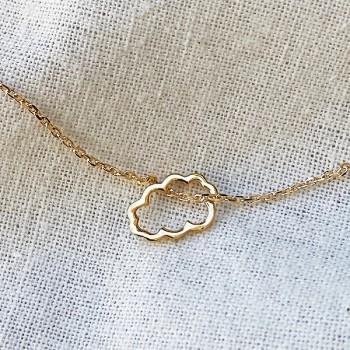 Collier nuage évidé sur chaine en plaqué or - bijoux fins et fantaisies