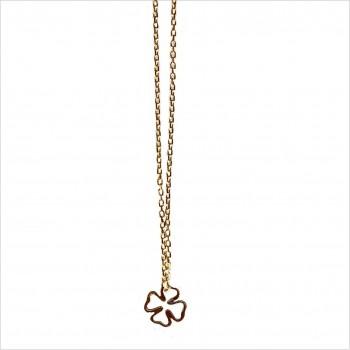 Collier trèfle évidé sur chaine en plaqué or - bijoux fins et fantaisies