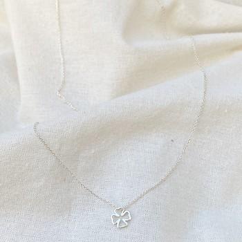 Collier trèfle évidé sur chaine en argent - bijoux fantaisie
