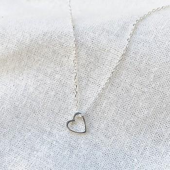 Collier coeur évidé sur chaine en argent - bijoux fantaisie