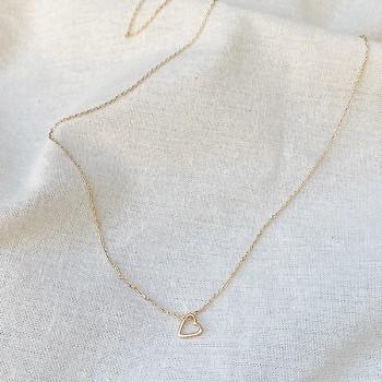 Collier coeur évidé sur chaine en plaqué or - bijoux fins et fantaisies