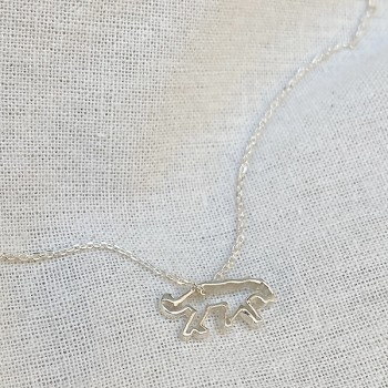 Collier panthère évidée sur chaine en argent - bijoux fantaisie