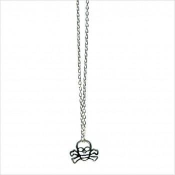 Collier tête de mort évidée sur chaine en argent - bijoux fantaisie