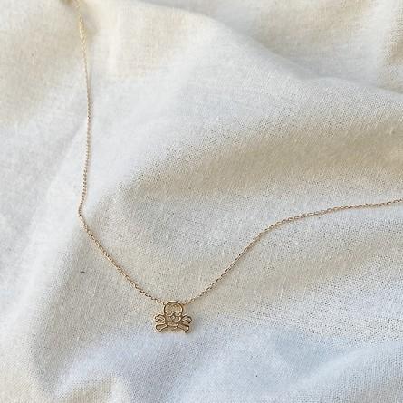 Collier tête de mort évidée sur chaine en plaqué or - bijoux fins et fantaisies