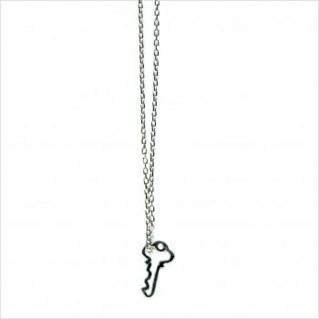 Collier clé évidée sur chaine en argent - bijoux fantaisie