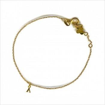 Bracelet micro lettre en plaqué or sur chaine, toutes les lettres disponibles - Bijoux modernes - gag et lou - bijoux fantaisie