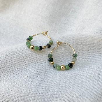 Boucles d'oreilles créoles 15 mm en plaqué or et pierres fines en rubis soizite - Bijoux fins et tendances