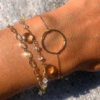 Bracelet en plaqué or anneau martelé 20 mm sur chaine - bijoux fins et intemporels