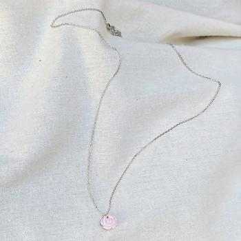 Collier chaine en argent médaille petite rose nacrée - Bijoux moderne