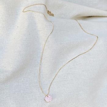 Collier chaine en plaqué or médaille petite rose nacrée - Bijoux moderne