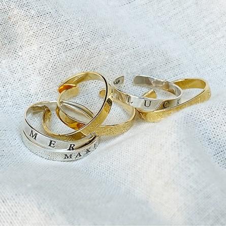 Bague anneau en plaqué or ajustable gravure message - bijoux fins de créateur