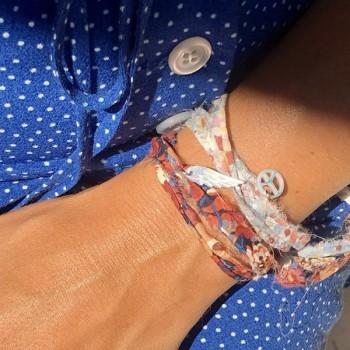 Bracelet en plaqué or et argent tissu liberty charms nacre - bijoux fantaisie