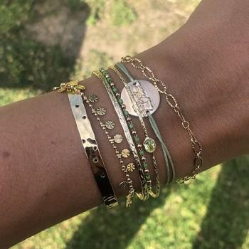 Bracelet sur chaine plaqué or et perles vertes - Bijoux fins et fantaisies