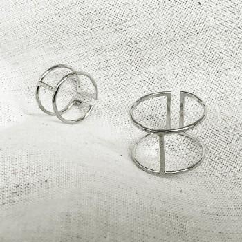Bague manchette et bague de phalange en argent martelée taille adaptable - Bijoux fins de créateur