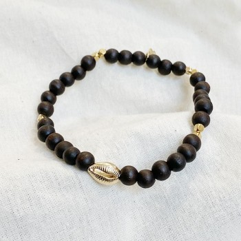 Bracelet perles en bois coquillage plaqué or - Bijoux de créateur