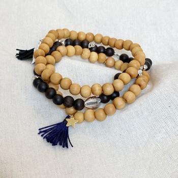 Bracelet perles en bois coquillage en argent ou plaqué or - Bijoux de créateur