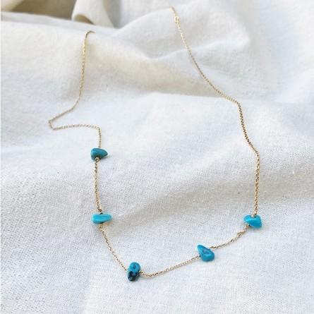 Collier plaqué or 5 pierres fines irrégulières en Turquoise - Bijoux fins et tendances