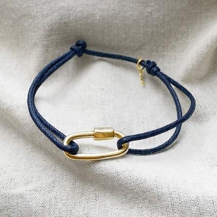 Mousqueton en plaqué or sur lien bleu marine ajustable - Bijoux de créateur