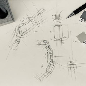 Dessin croquis de bracelets mousquetons - Bijoux de créateur - Gag et Lou