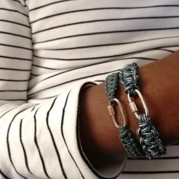 Mousqueton en argent macramé coton ciré bleu ajustable - bijoux de créateur