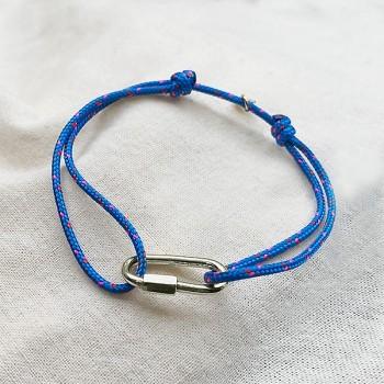 Mousqueton en argent sur cordon bateau bleu ajustable - bijoux intemporels de créateur