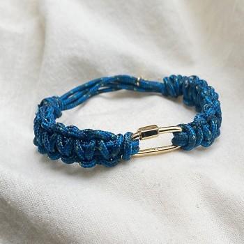 Mousqueton en plaqué or cordon épais bateau bleu ajustable - bijoux de créateur