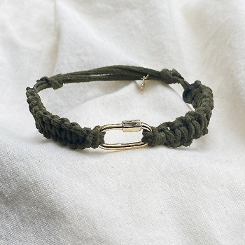 Mousqueton en plaqué or cordon daim couleur kaki ajustable - bijoux de créateur